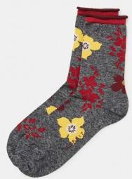 Fashion Women's Socks Flower Intarsien