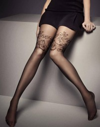 Penelope Strumpfhose mit Florale Overknie Abschluß